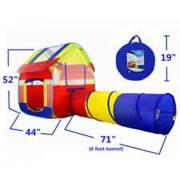 Kiddey Blue Children Playhouse Tent With Tunnel –Pops Up no Assembly Required– Large Kids Indoor & Outdoor House For Boys & Girls, Fits Up To 4 Children, 4 Ground Stakes. Perfect Gift For Toddler 1