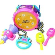 5 Pcs Colorful Mini Musical Instruments Jazz Drums Set Percussion Toys Baby Enlightenment (Sand Hammer,Rattle,Drum Hammer,Drum,Speaker Toys ) 6