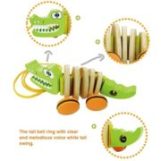 Timy Wooden Walk Along Crocodile Pull Toy for Toddler Baby 3