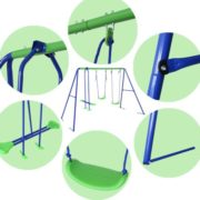 Outdoor Childrens Folding Swing Set with 2 Baby Swing & Seesaw, Best Birthday Gift 2