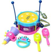 5Pcs Baby Kids Colorful Plastic Drum Bell Sand Hammer Musical Education Instrument Toy Set 1