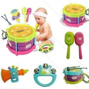 5 Pcs Colorful Mini Musical Instruments Jazz Drums Set Percussion Toys Baby Enlightenment (Sand Hammer,Rattle,Drum Hammer,Drum,Speaker Toys ) 3