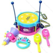 5 Pcs Colorful Mini Musical Instruments Jazz Drums Set Percussion Toys Baby Enlightenment (Sand Hammer,Rattle,Drum Hammer,Drum,Speaker Toys ) 5