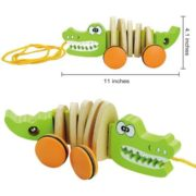 Timy Wooden Walk Along Crocodile Pull Toy for Toddler Baby 2